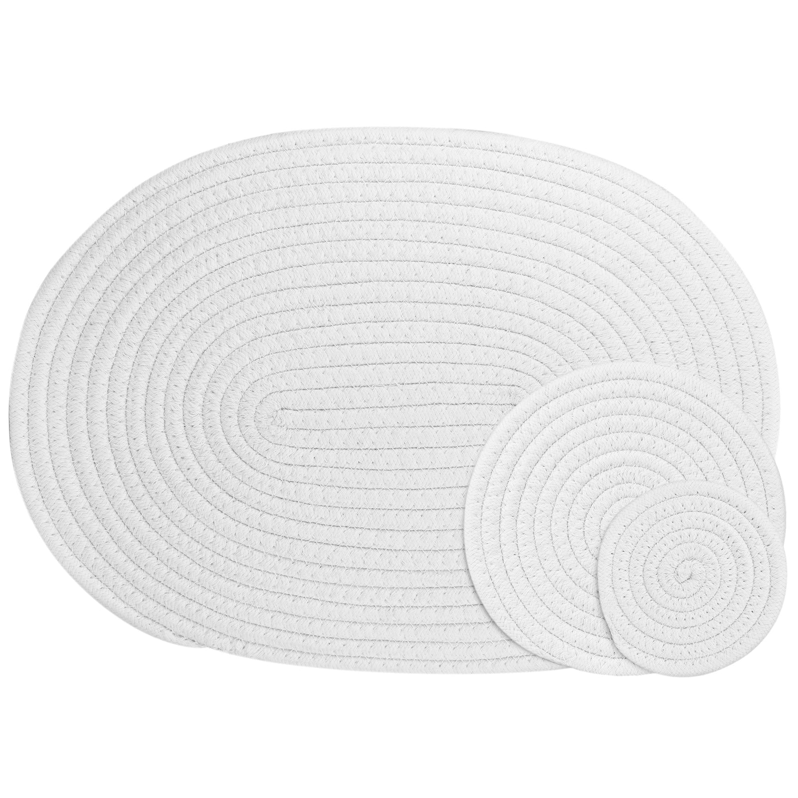 White Woven Cotton Placemat and Coaster Set
