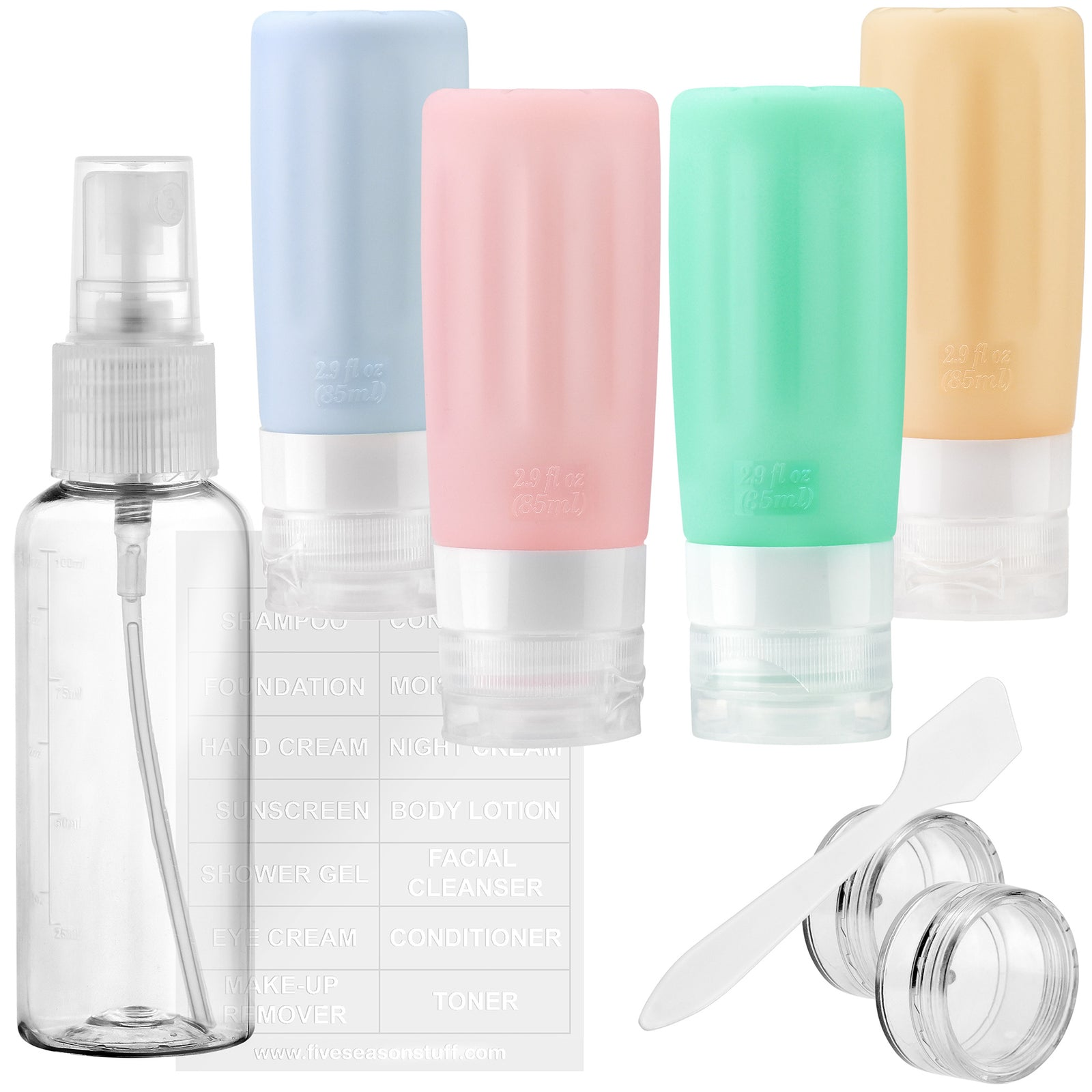 FiveSeasonStuff TSA Approved Silicone Leak Proof Travel Squeeze Bottles and Travel Spray Bottle with TSA Toiletry Bag (7 Pack) Warm Pastel CheerfulSunny Pastel (Dusty Blue, Dusty Pink, Aqua Green & Apricot)