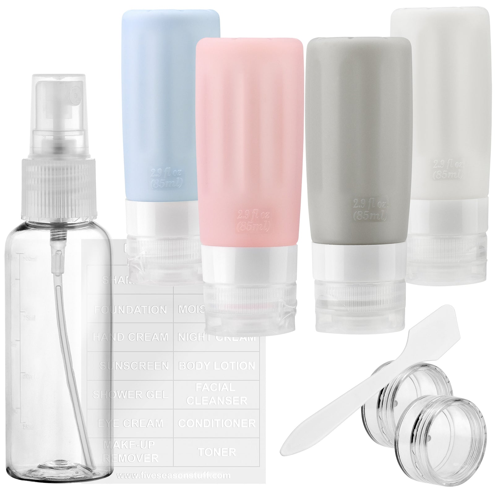 FiveSeasonStuff TSA Approved Silicone Leak Proof Travel Squeeze Bottles and Travel Spray Bottle with TSA Toiletry Bag (7 Pack)Warm Pastel (Dusty Blue, Dusty Pink, White & Gray)