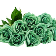 Sea Green Real Touch Silk Artificial Flowers 'Petals Feel and Look like Fresh Roses 10 Stems