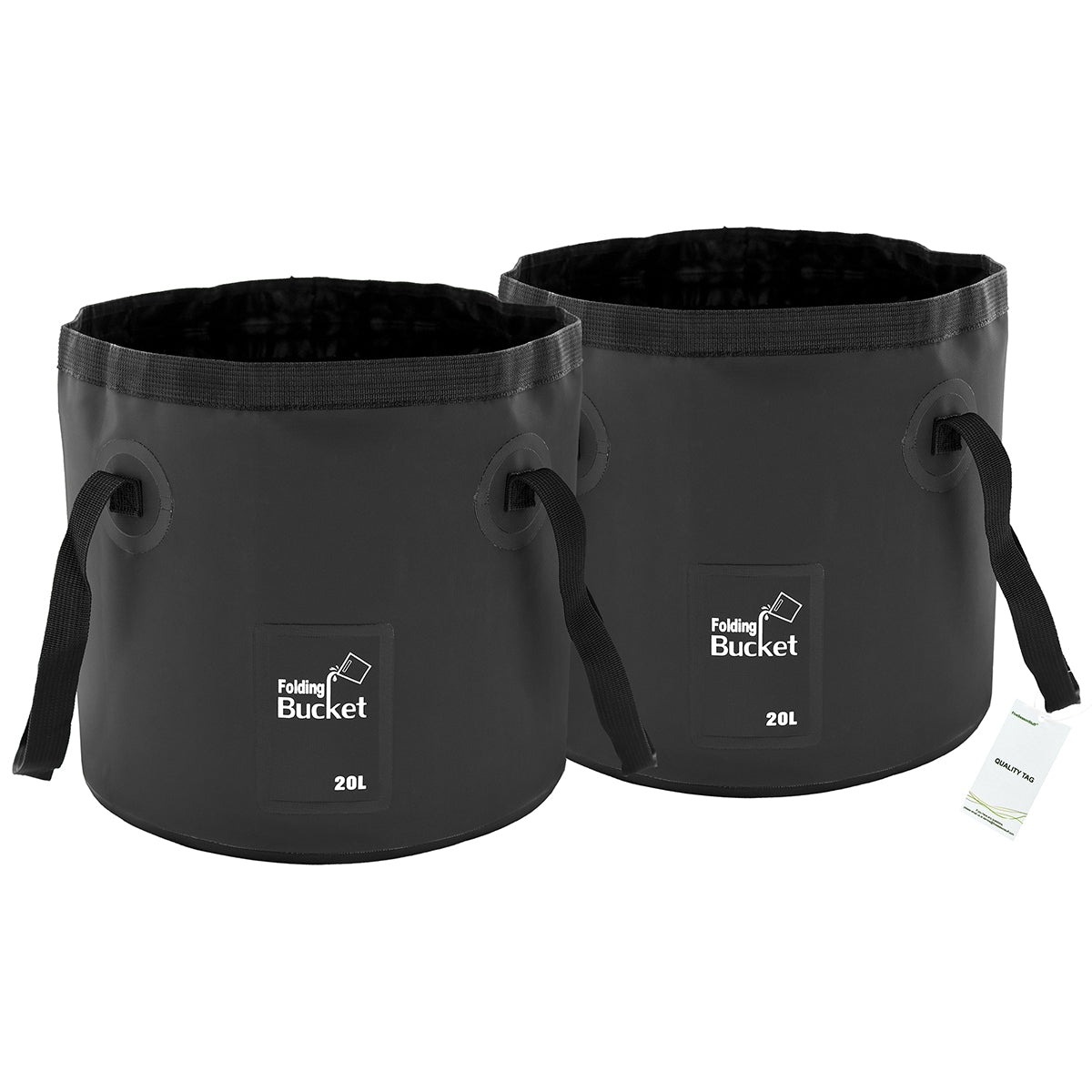 2 Black Collapsible Buckets 20 Liters