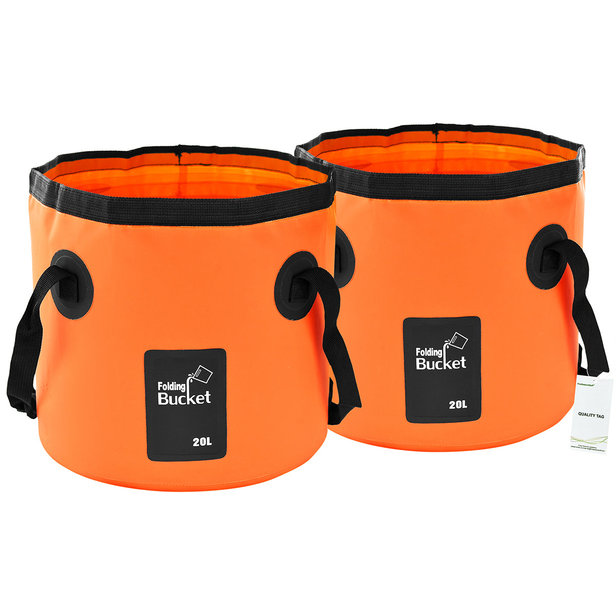 Two standing orange collapsible buckets with handles display with a white background