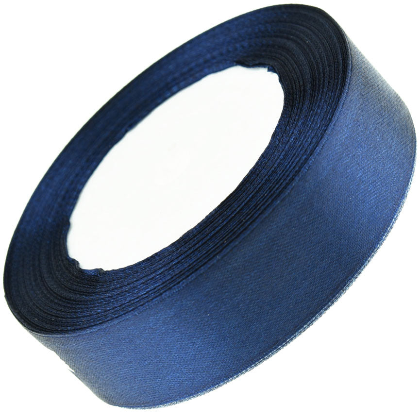 25mm Dark Blue Single Sided Satin Ribbon