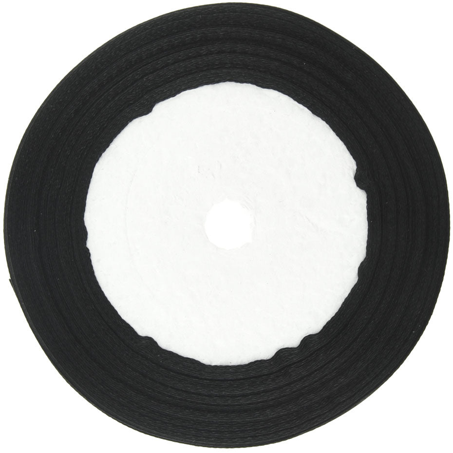 20mm Black Single Sided Satin Ribbon