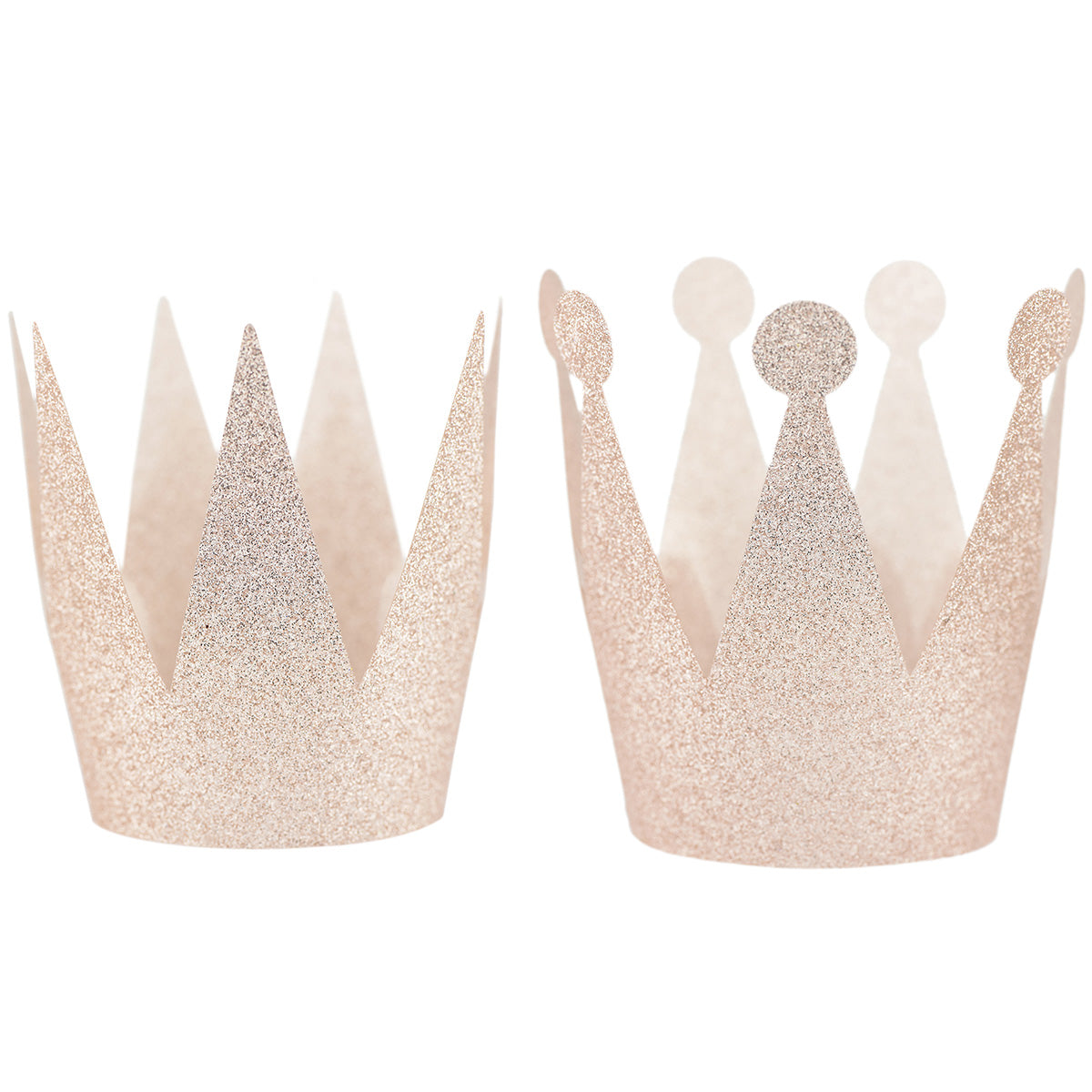 24 Champagne Glittery (Princess + Prince) Crown Party Hats