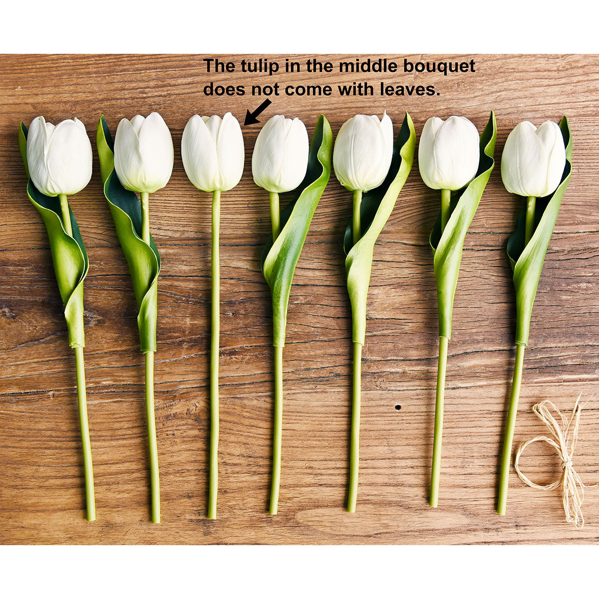 7 Stems of (White) Real Touch Tulip Artificial Flowers Bouquet