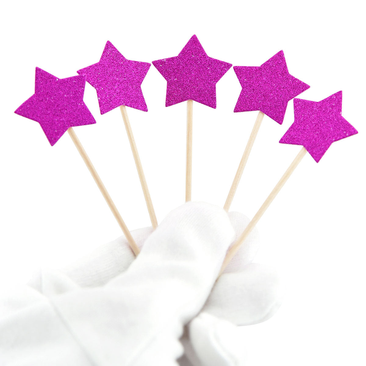 Purple Glitter Star Cake Toppers 50 Pcs