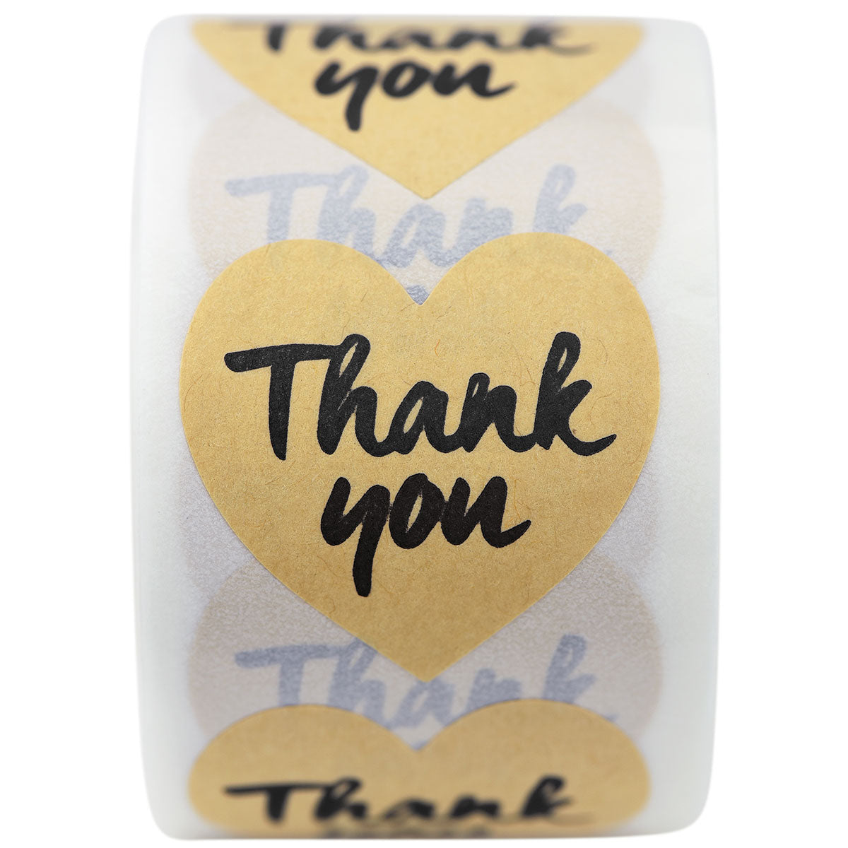 Heart Shape Kraft Paper Thank you Stickers 500 Pieces