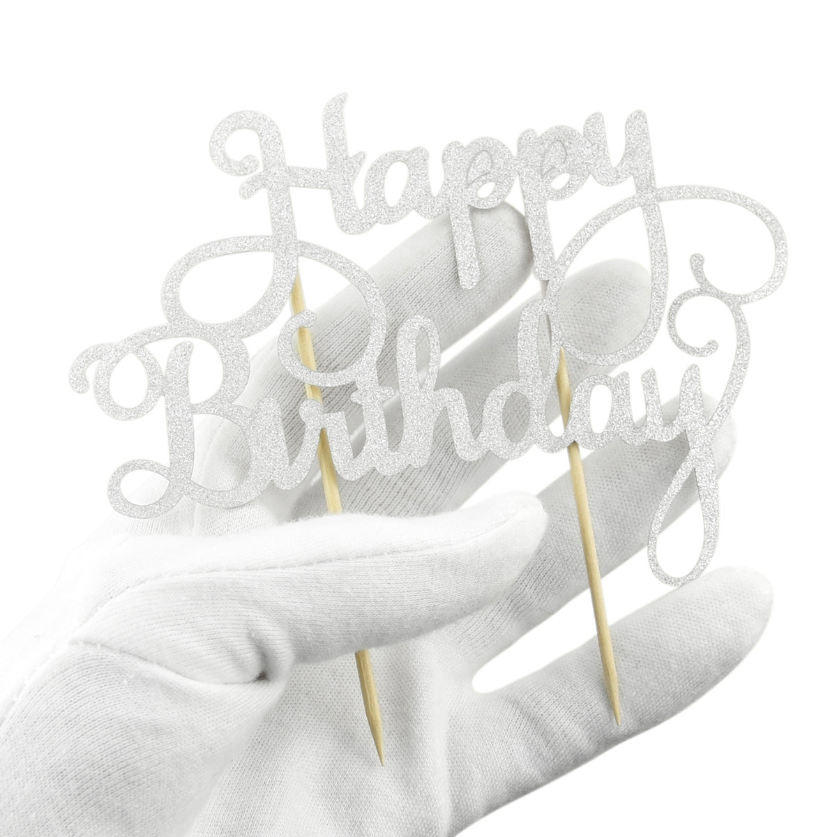 Glitter Silver 'Happy Birthday' Cake Topper with Two Sticks