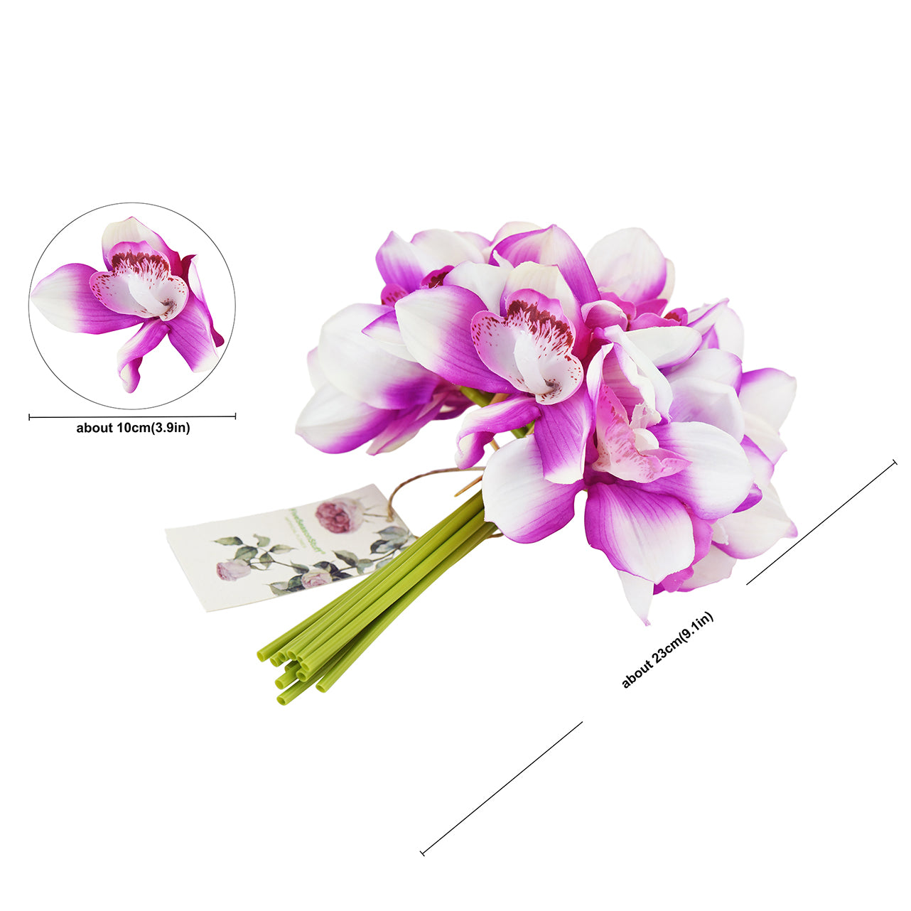 12 Stems Artificial Real Touch Purple Cymbidium Flowers & Bouquet 9.1 Inches (23cm)
