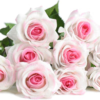 Pink Heart Real Touch Silk Artificial Flowers 'Petals Feel and Look like Fresh Roses 10 Stems