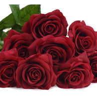 Dark Red Real Touch Silk Artificial Flowers 'Petals Feel and Look like Fresh Roses 10 Stems