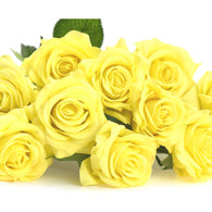 Yellow Real Touch Silk Artificial Flowers 'Petals Feel and Look like Fresh Roses 10 Stems
