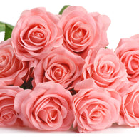 Pinkish Real Touch Silk Artificial Flowers 'Petals Feel and Look like Fresh Roses 10 Stems