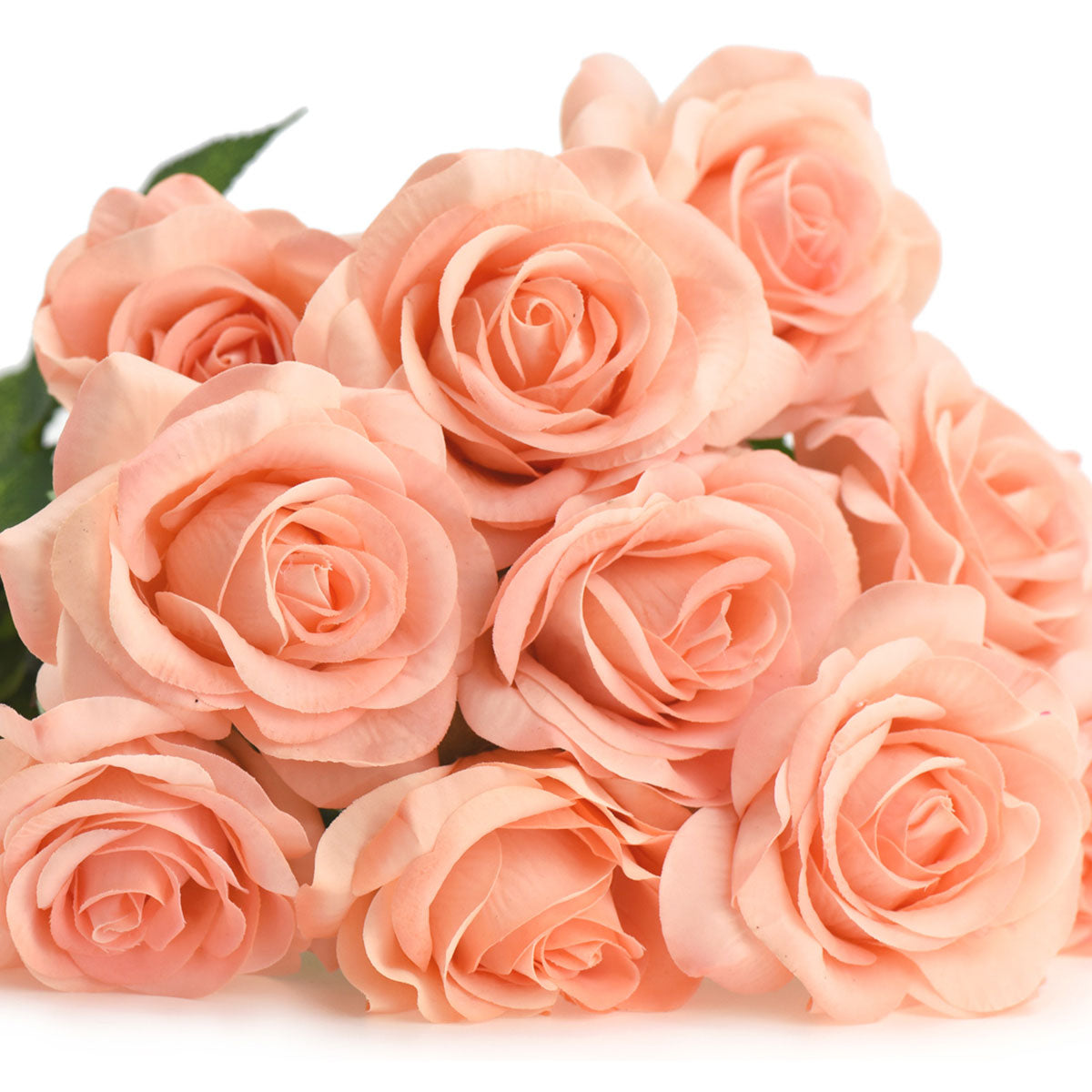 Peach Real Touch Silk Artificial Flowers 'Petals Feel and Look like Fresh Roses 10 Stems
