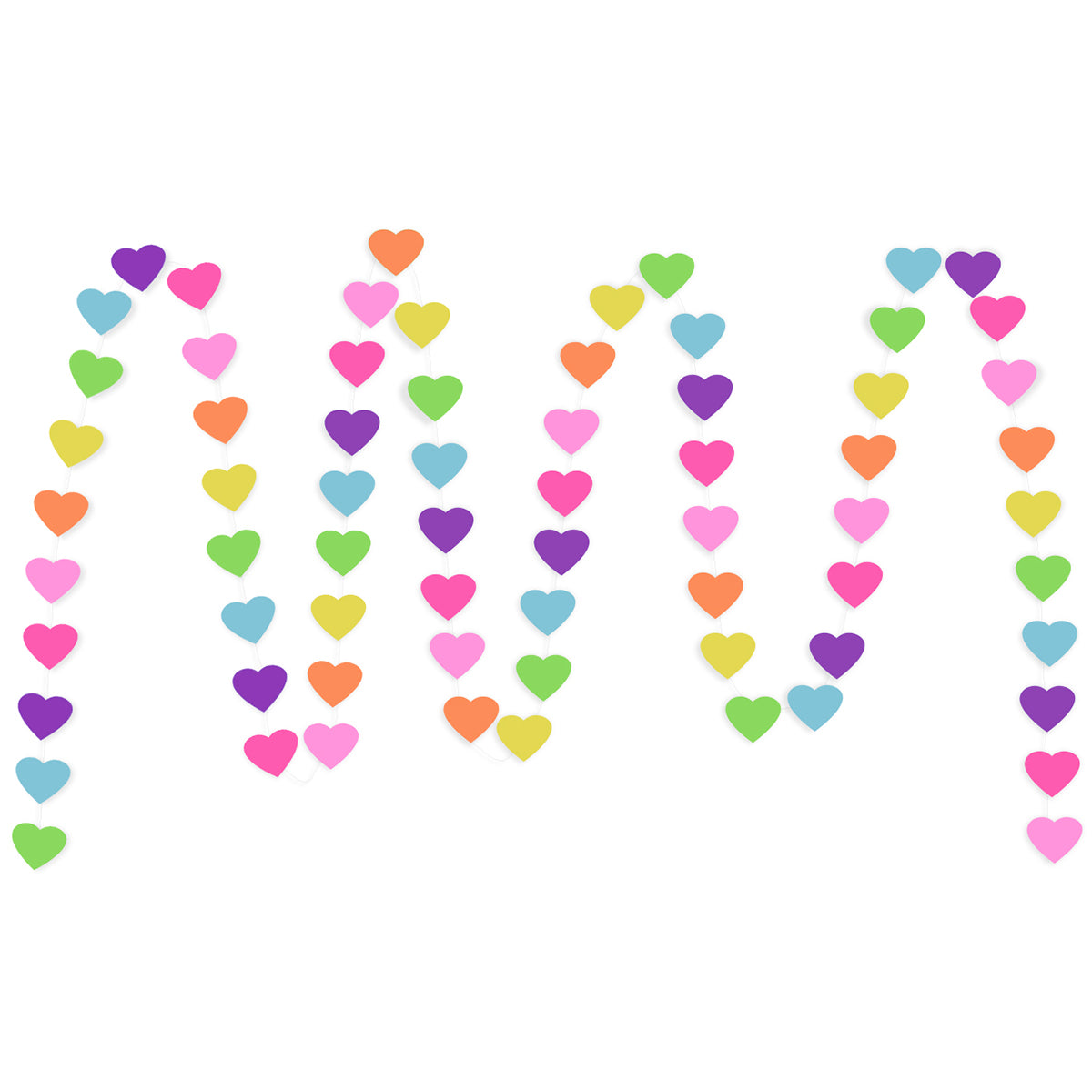 A string of Colorful Hearts Paper Garland show with a white background.