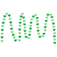 A string of Green & Dark Green Hearts Paper Garland show with a white background.