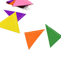 A string of colorful Pennant Paper Garland show with a white background.