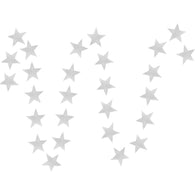 A string of silver stars paper garland show with a white background.