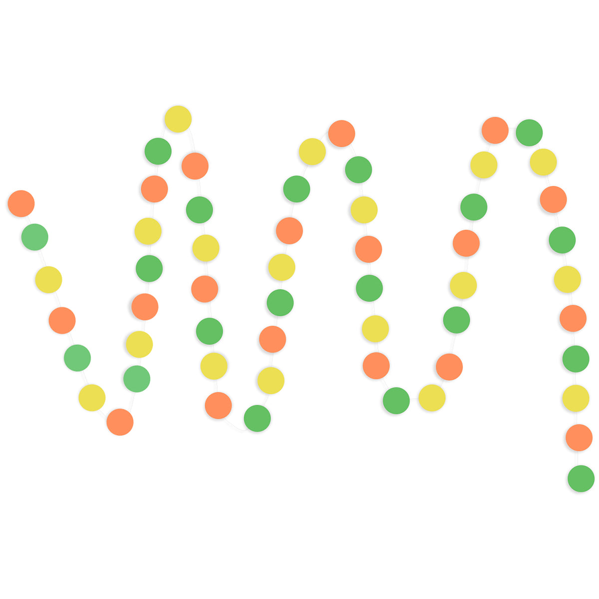 A string of Yellow, Orange, Green Circle Paper Garland show with a white background.