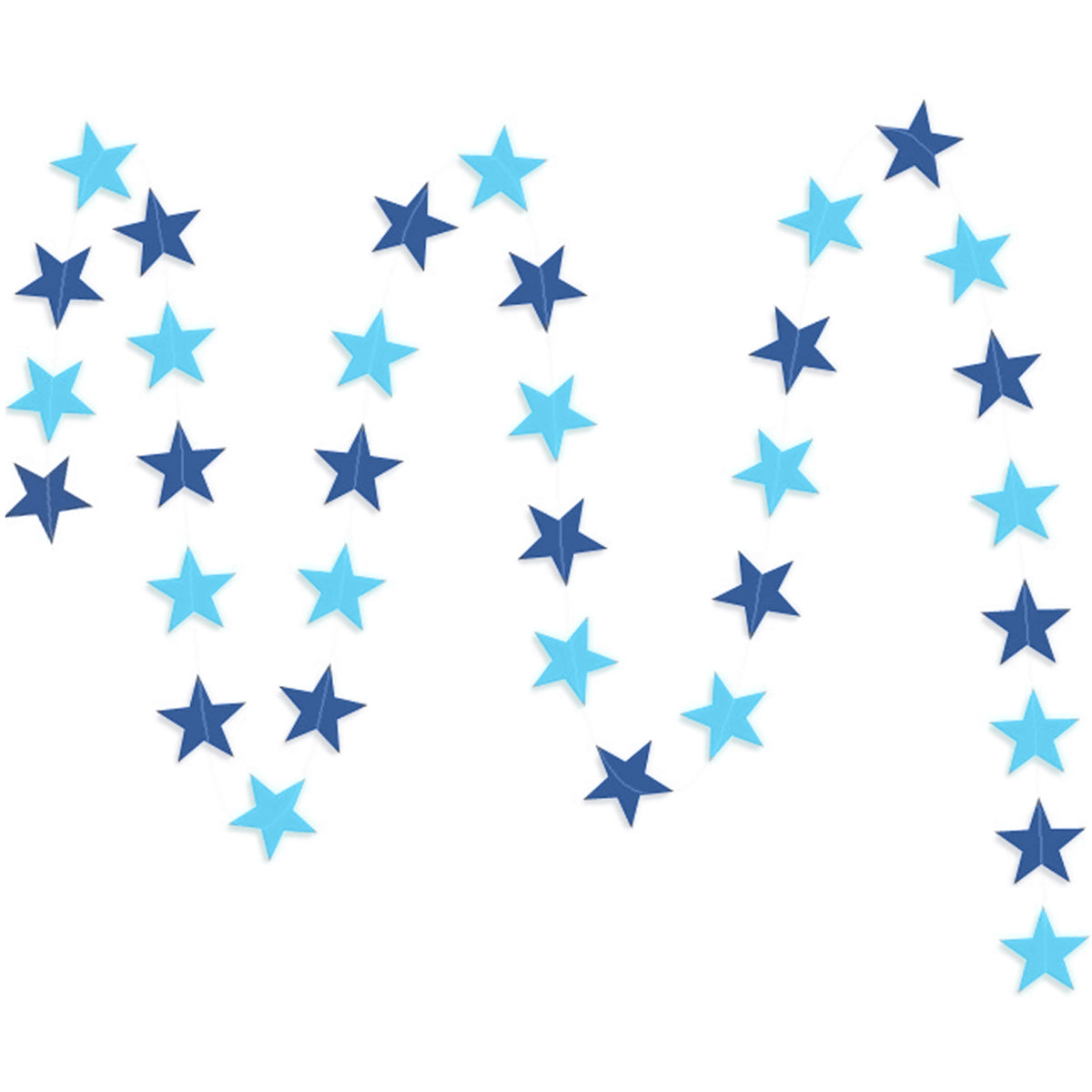 A string of blue & dark blue small stars paper garland show with a white background.
