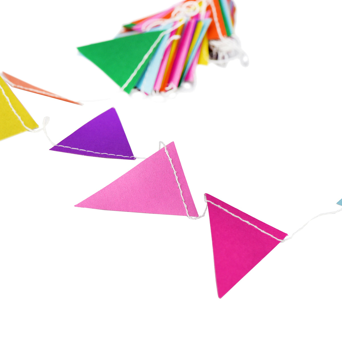 A string of colorful small Pennant Paper Garland show with a white background.