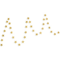 A string of gold stars paper garland show with a white background.