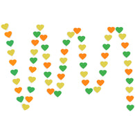 A string of Yellow, Orange, Green Hearts Paper Garland show with a white background.