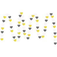 A string of Yellow, White, Gray Hearts Paper Garland show with a white background.