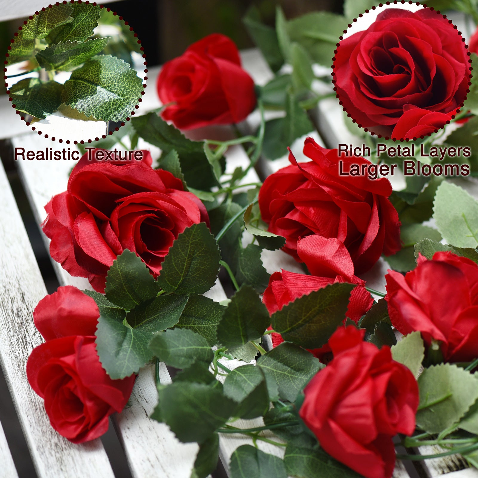 2 Pcs Red Artificial Silk Rose Garland Vine Plant Flower Leaves