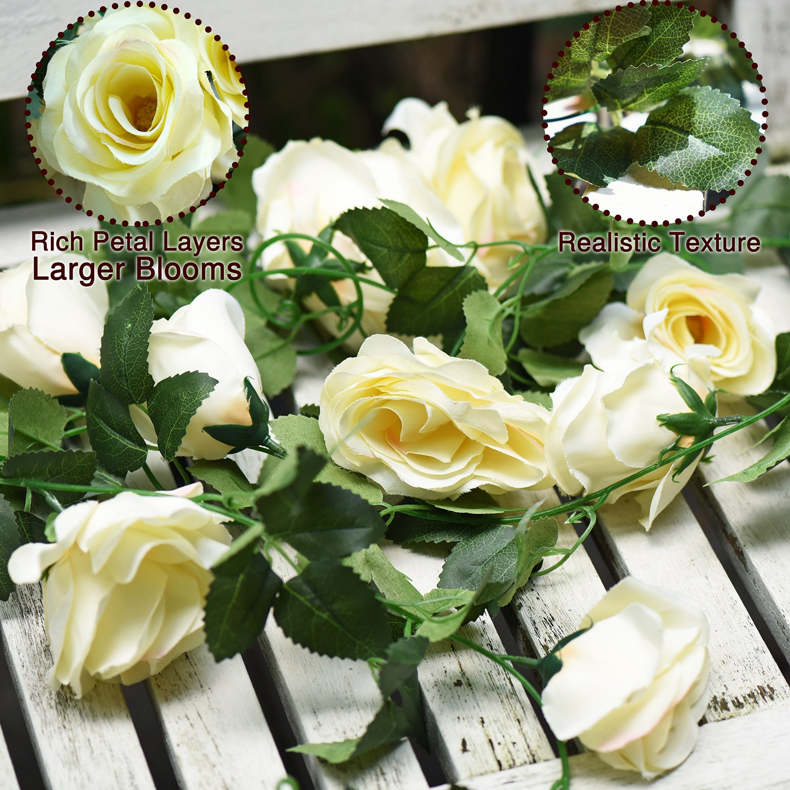 Artificial Silk Rose Garlands Vine Plant Flower Leaves (Cream White) 2 Pcs