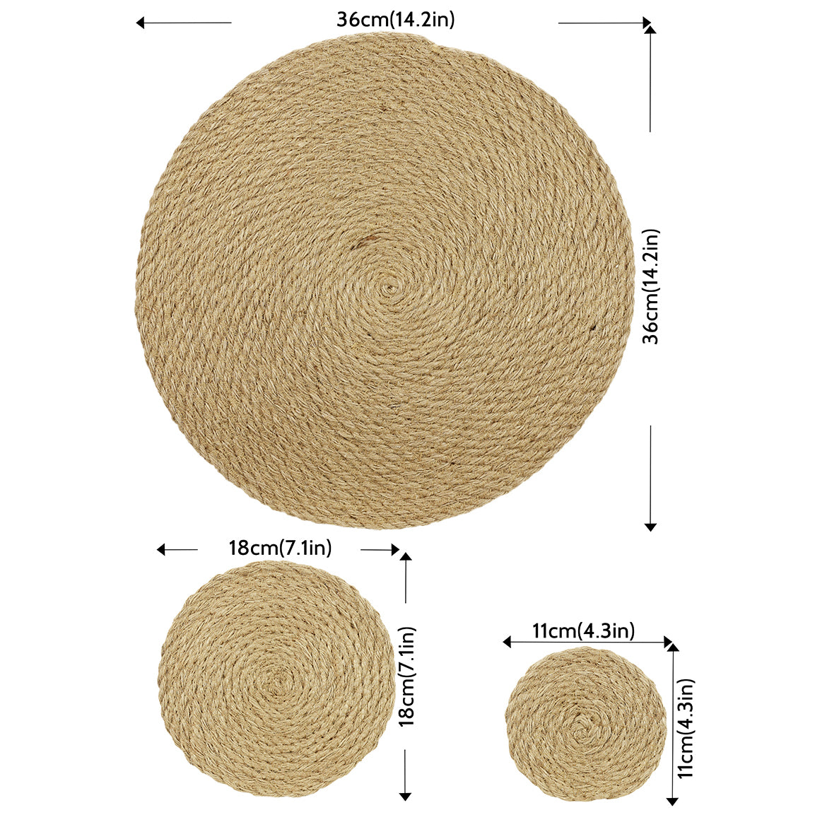 Woven Jute Round Placemat and Coaster Set
