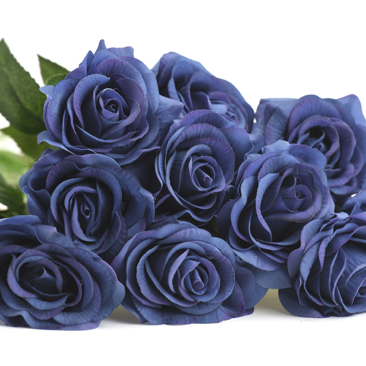 Midnight Blue Real Touch Silk Artificial Flowers 'Petals Feel and Look like Fresh Roses 10 Stems