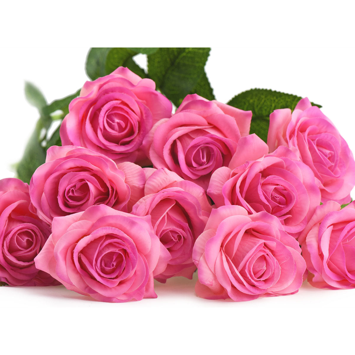Magenta Real Touch Silk Artificial Flowers 'Petals Feel and Look like Fresh Roses 10 Stems
