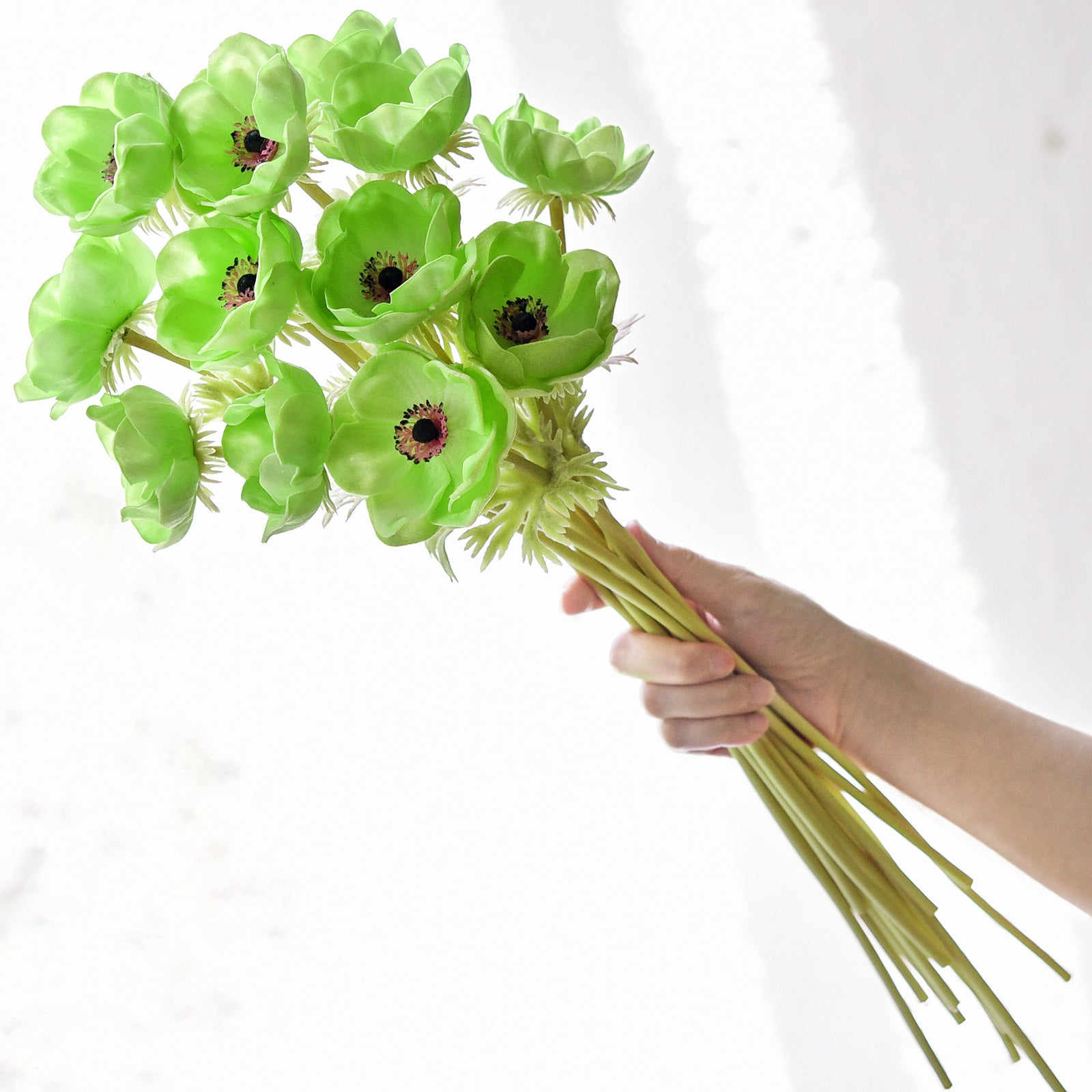 12 Long Stems of 'Real Touch' Artificial (Green) Anemone Flowers, Wedding Bouquet Flower Arrangement, 45cm (17.7 inches)