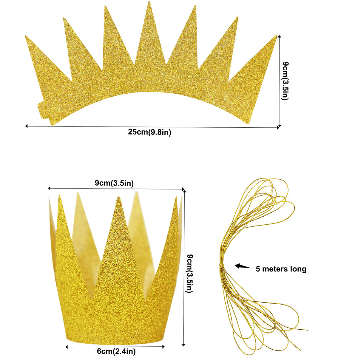 24 Golden Glittery (Princess) Crown Party Hats