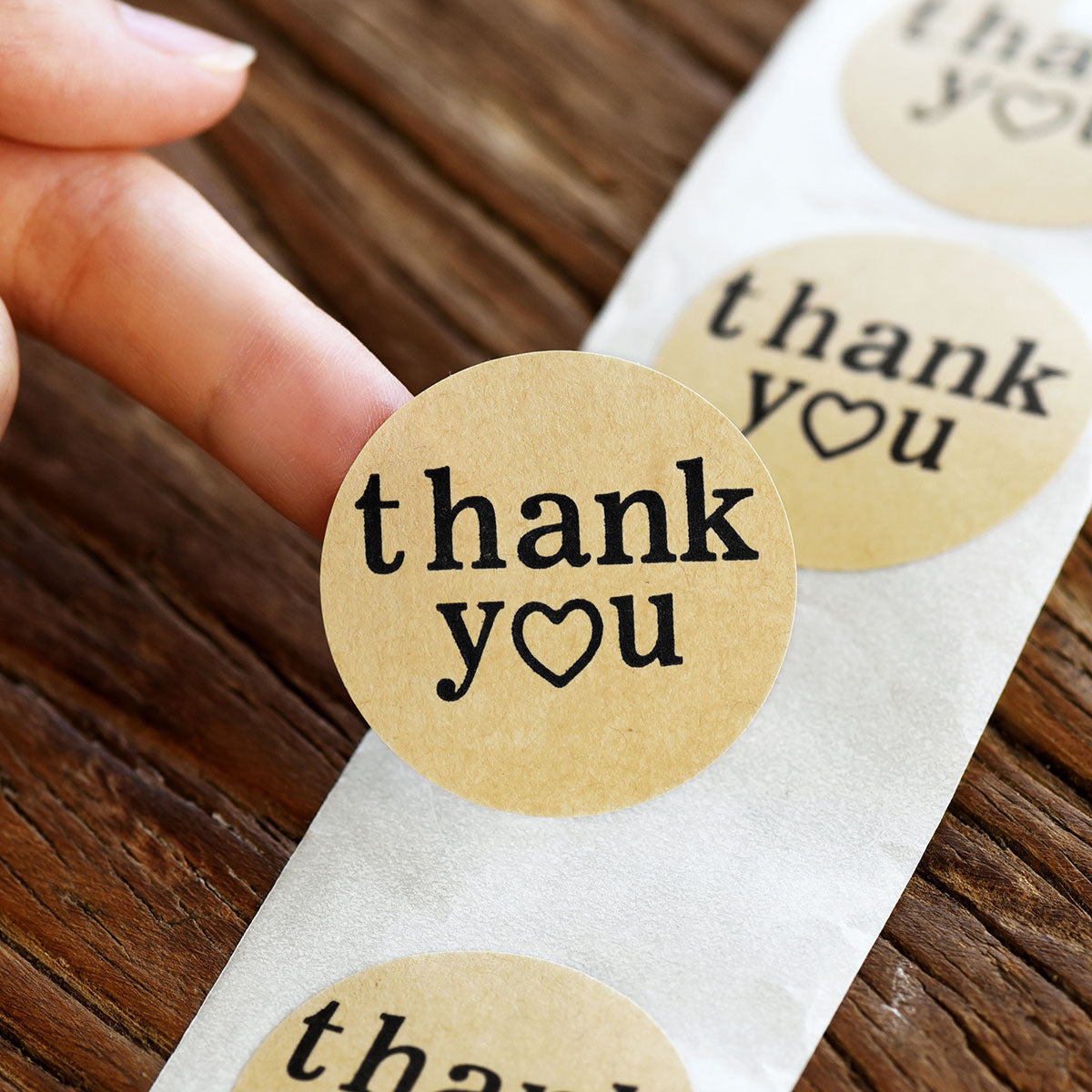 Round Shape Kraft Paper Thank You Stickers 500 Pieces