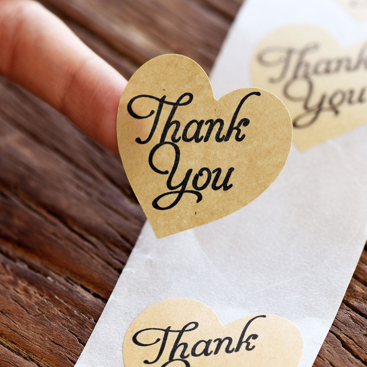 Heart Shape Kraft Paper Thank you Stickers 1000 Pieces