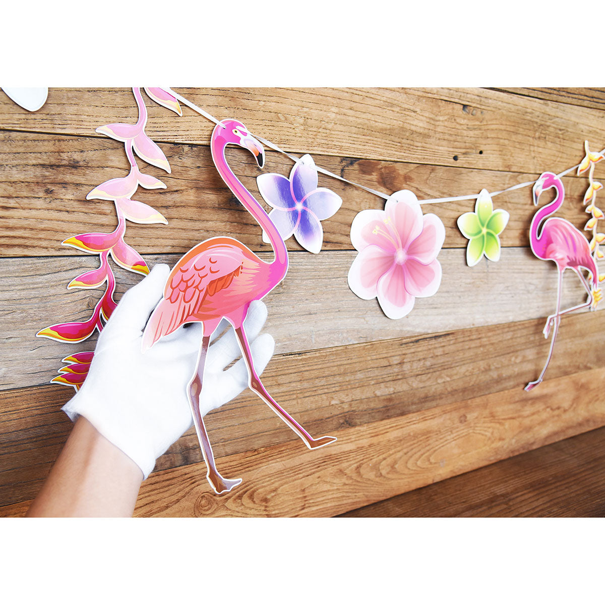 Pink Flamingo Floral Decorative Garland