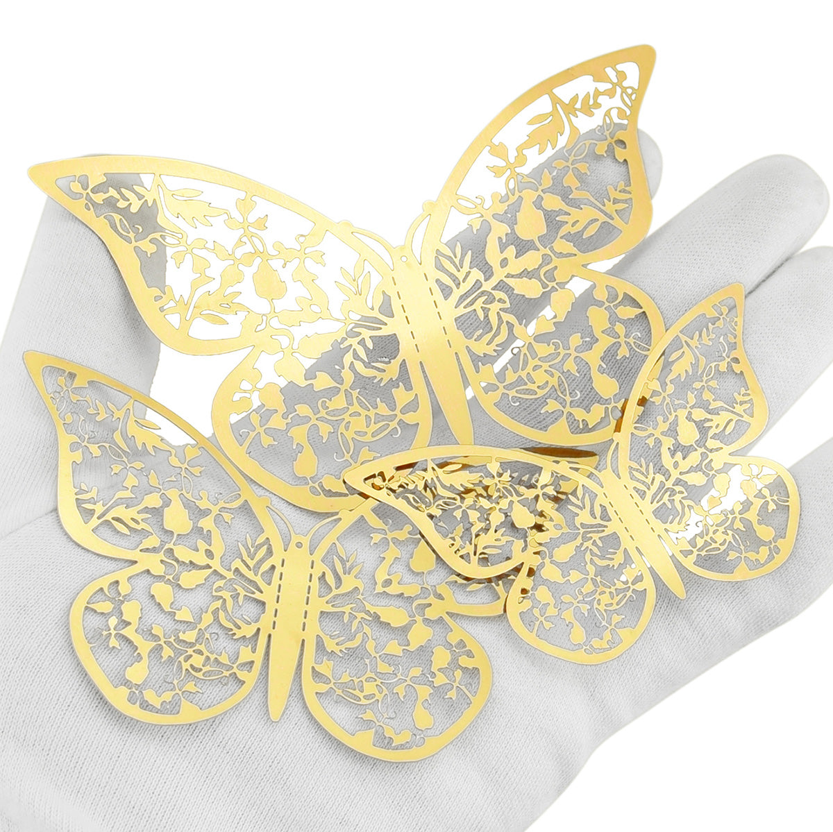 Gold Butterflies Wall Decorations Set - Floral & Leaves Hollow Design