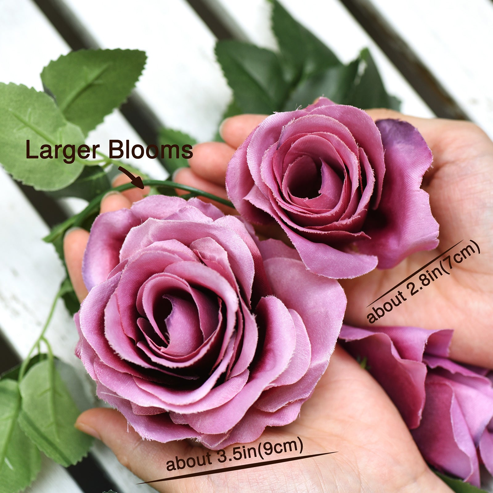 Artificial Silk Rose Garlands Vine Plant Flower Leaves (Fuchhsia) 2 Pcs
