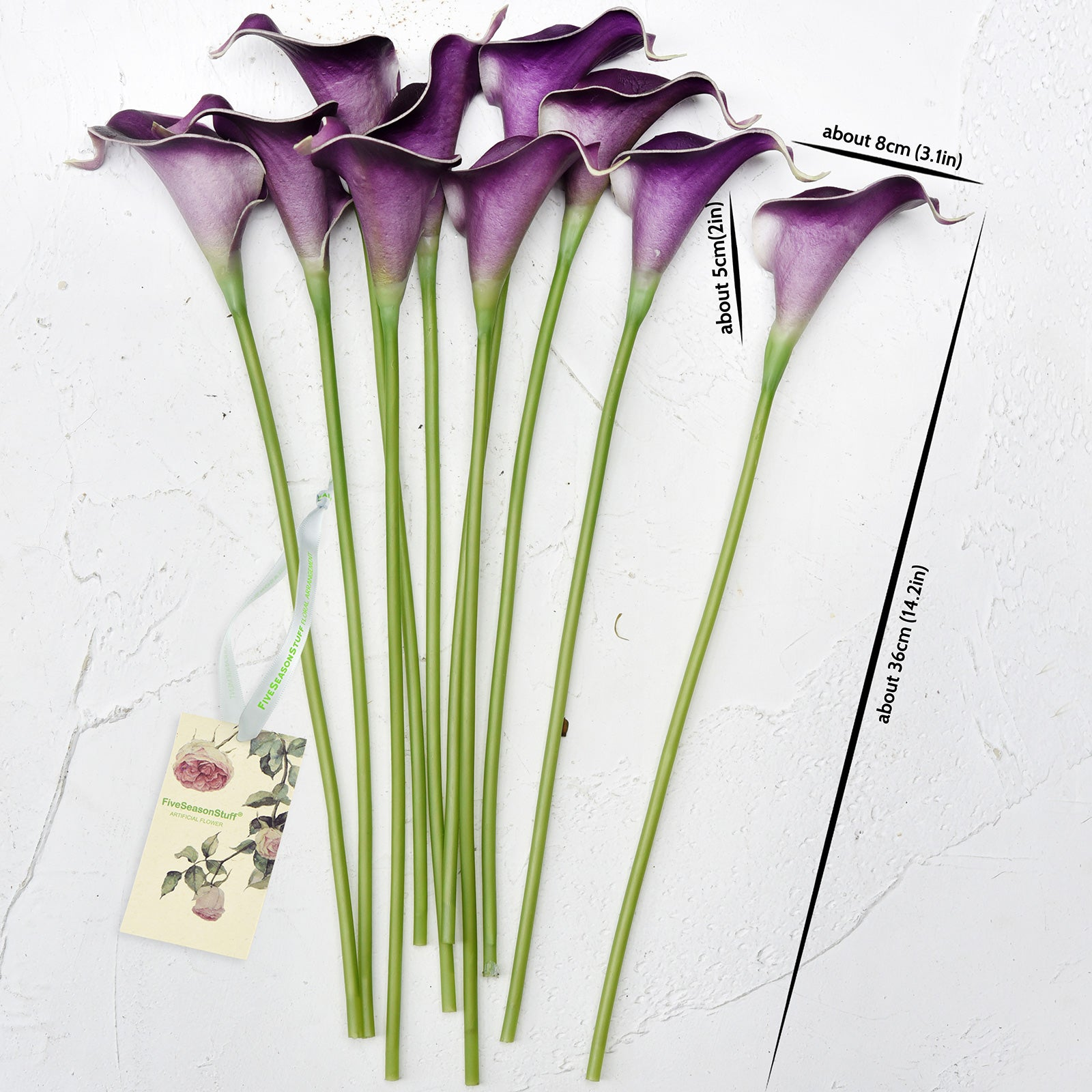 Purple Real Touch Calla Lilies Artificial Flower Bouquet 10 Stems
