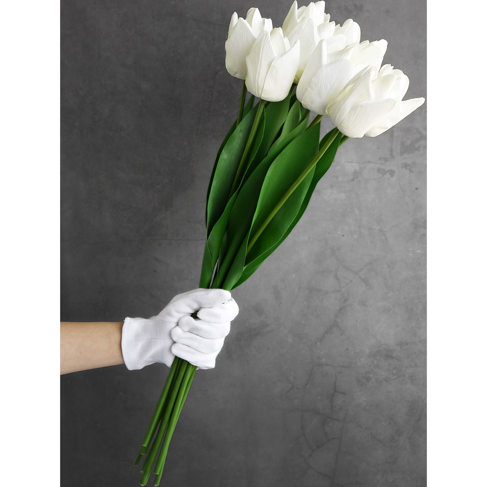 FiveSeasonStuff 10 Long Stems Parrot Tulips Real Touch Artificial Flowers Bouquet [3D Printed] (Floral White)