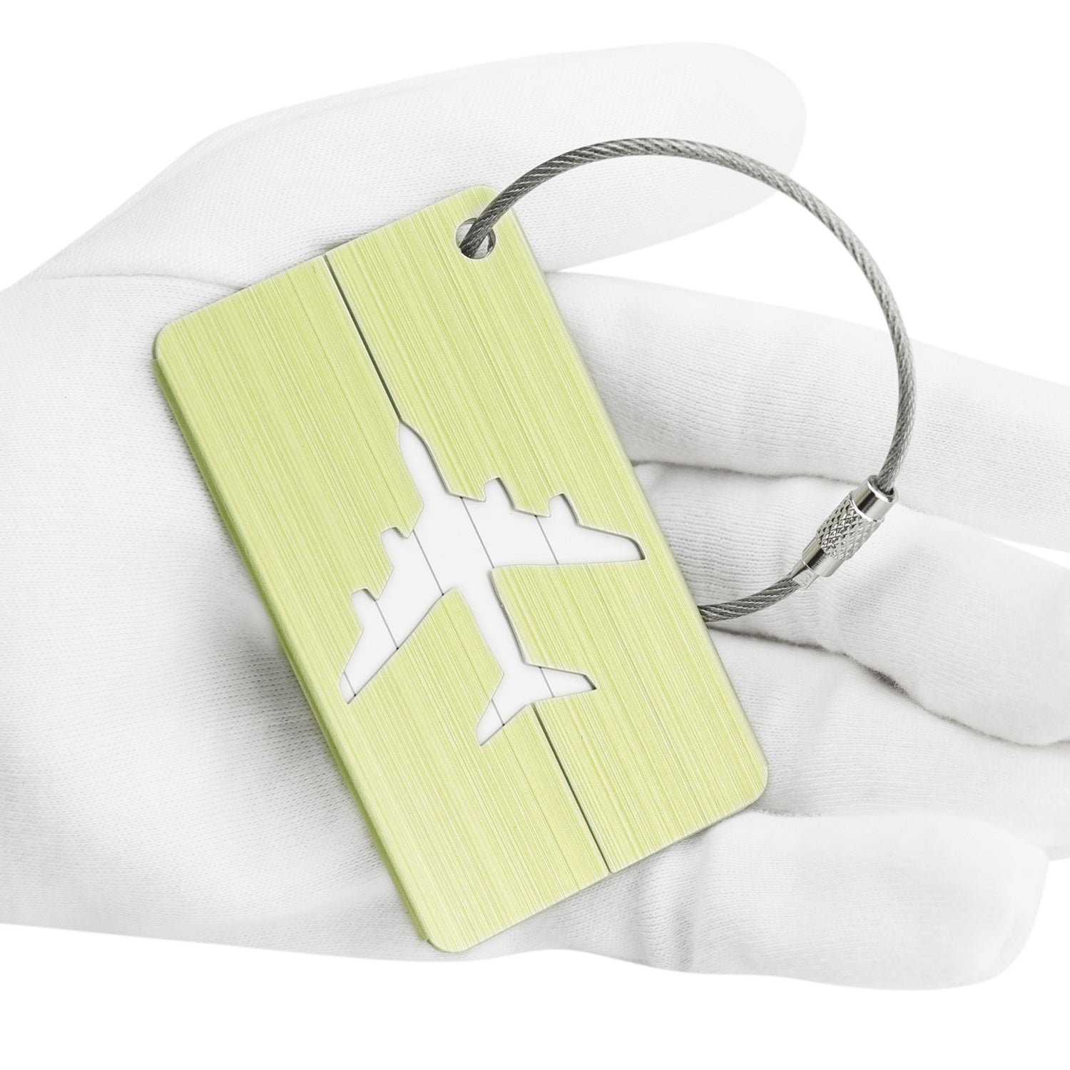 6 Yellow Hollow Airplane Pattern Aluminum Luggage Tags