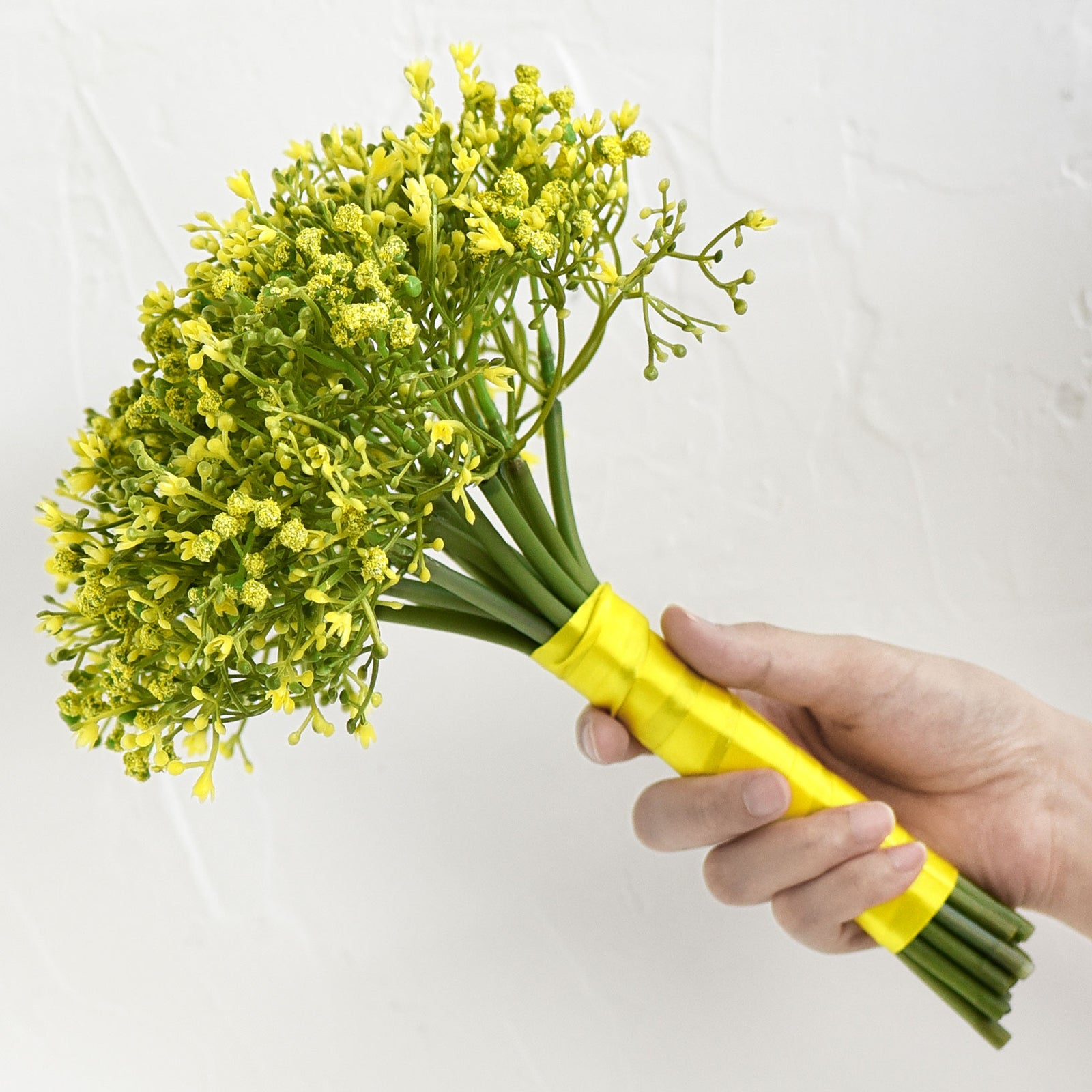 Baby's Breath Artificial Flowers Bouquet 1 Bundle (15 PCS) Baby's Breath Gypsophila 2 for Floral Arrangement, Wedding Flower Bouquet Décor (Yellow)