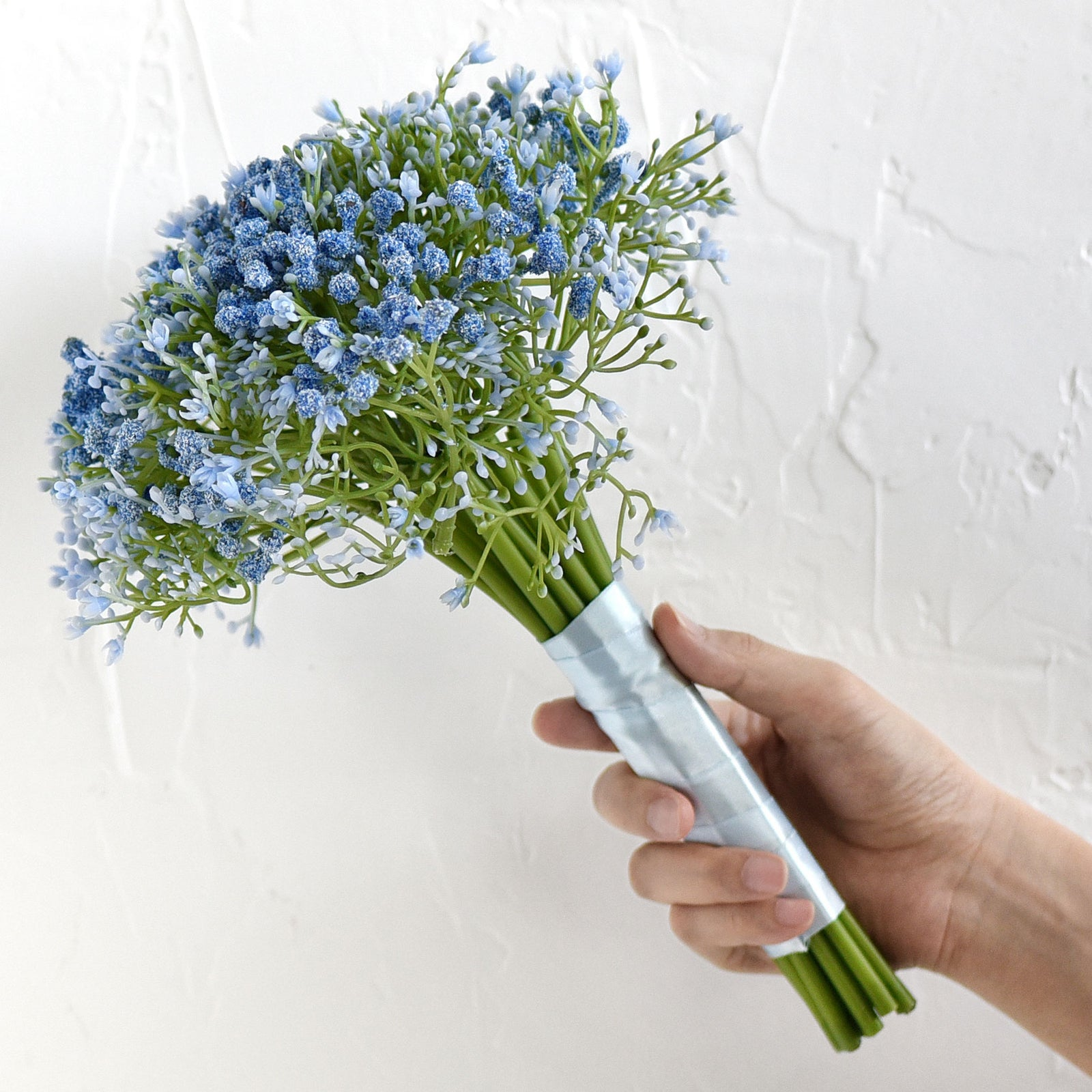 Baby's Breath Artificial Flowers Bouquet 1 Bundle (15 PCS) Baby's Breath Gypsophila 2 for Floral Arrangement, Wedding Flower Bouquet Décor (Blue)