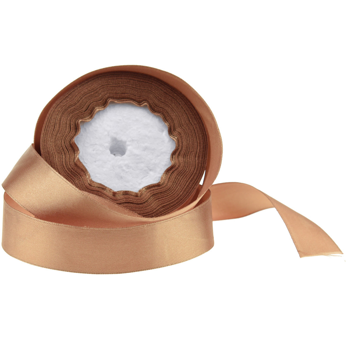 20mm Light Brown Single Sided Satin Ribbon