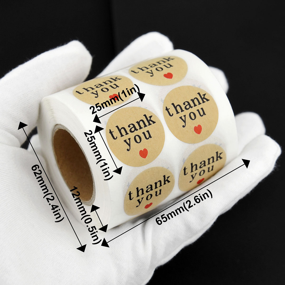 Round Shape Kraft Paper Thank You Stickers 1000 Pieces