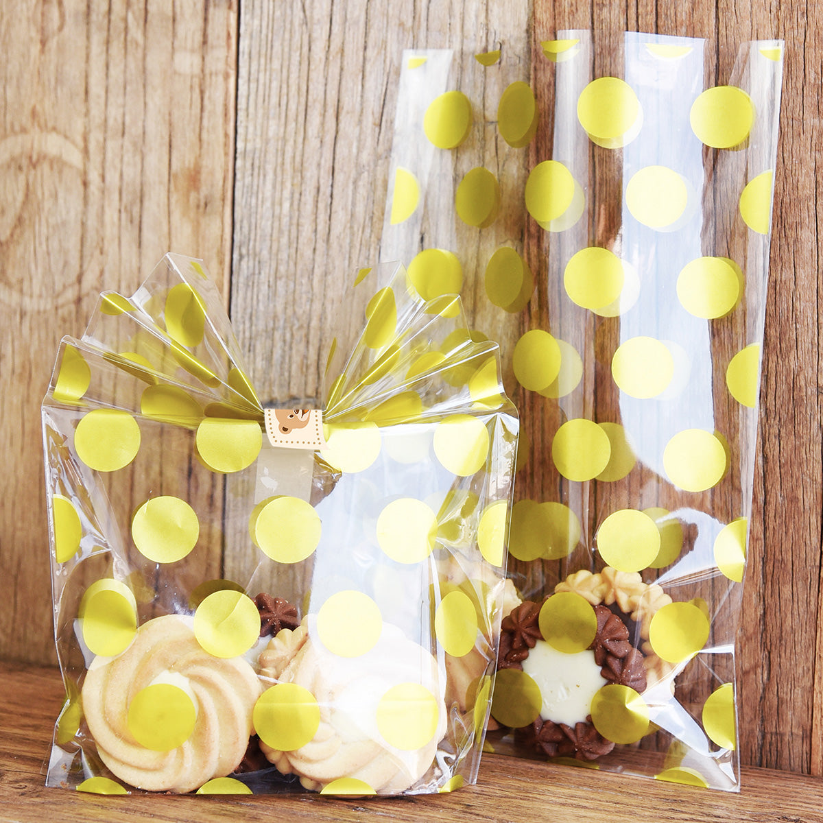 Gold Polka Dots Plastic Gift Bags 100 Pieces