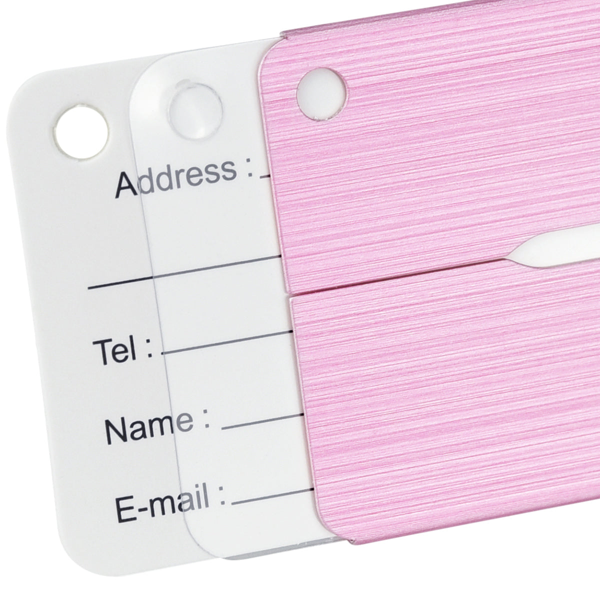 6 Pink Hollow Airplane Pattern Aluminum Luggage Tags